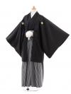 ジュニア袴男児0967黒紋付×黒グレ‐縞袴