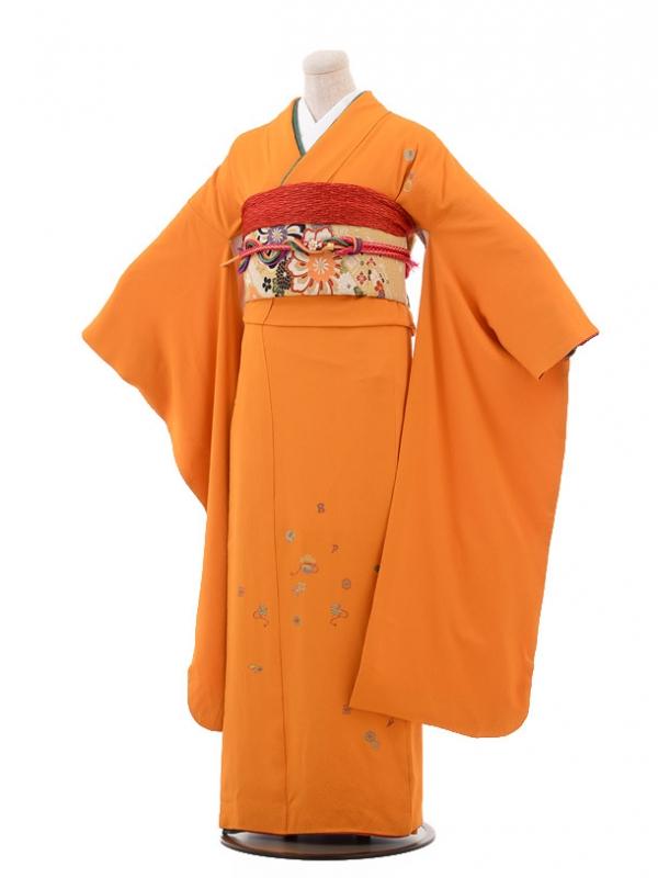 振袖C009 オレンジ色 刺繍宝づくし