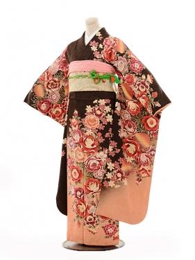 振袖E108 茶ラメ裾ピンクぼかしバラ