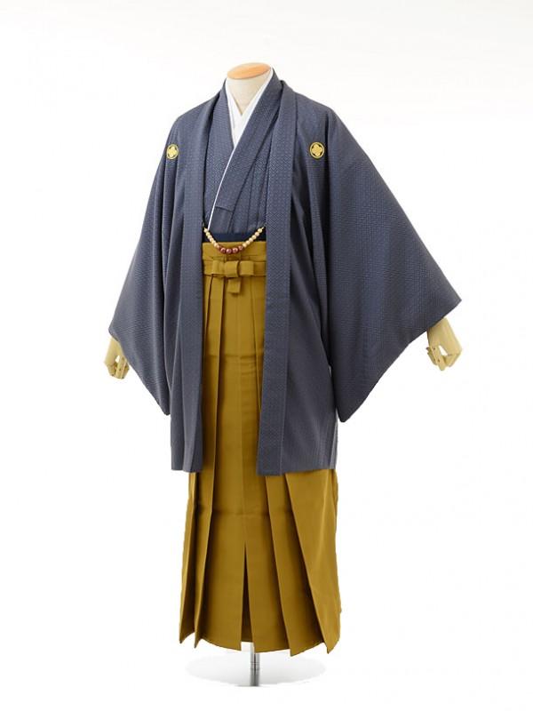 男性用袴men0035グレー紋付×からし袴(LL)