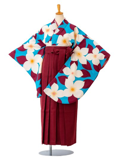 卒業袴0026  水色地に大きな花と葉 袴えんじ