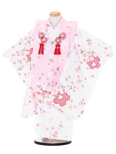 七五三レンタル(3歳女被布)3036 ピンク×白 小花