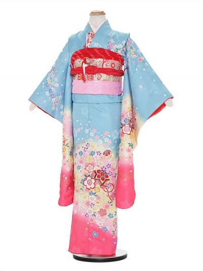 七五三レンタル(7歳女の子結び帯)A709 水色 花に鈴