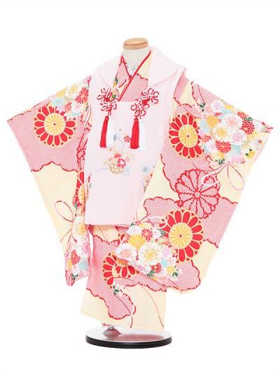 七五三レンタル(3歳女被布)3056 ピンク×赤と黄色 花