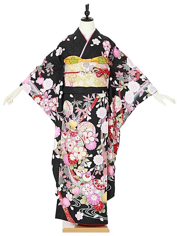振袖0096 黒 桜/鞠/橘/古典