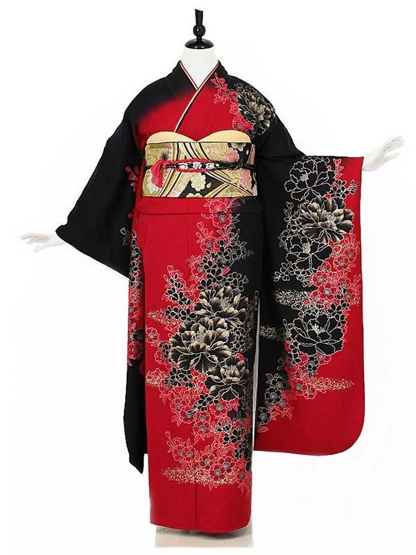 振袖0009 赤×黒 花模様