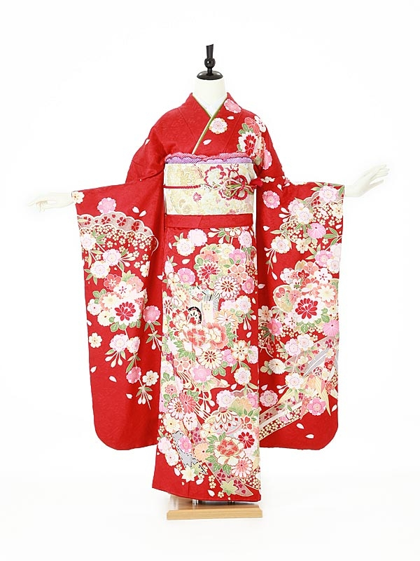 振袖0113 赤 桜/鞠/古典