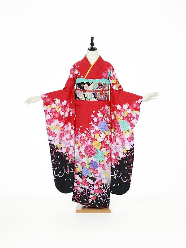 振袖0085 赤 桜/花模様