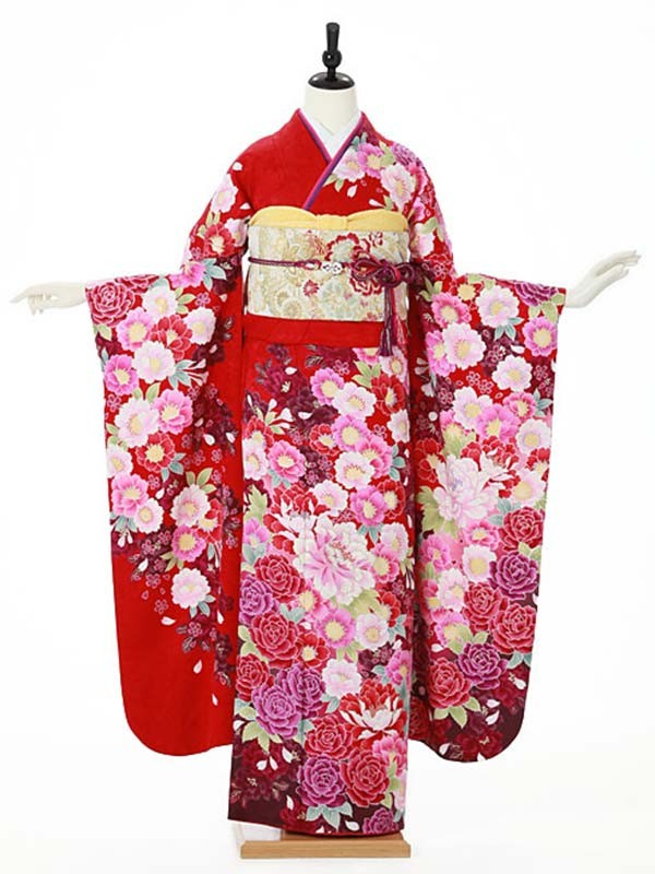 振袖0076 赤 バラ/花模様