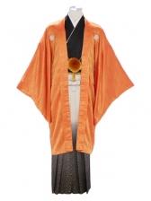 紋付袴332/オレンジ/金たたきぼかし