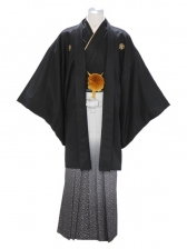 紋付袴215/黒/シルバーたたき