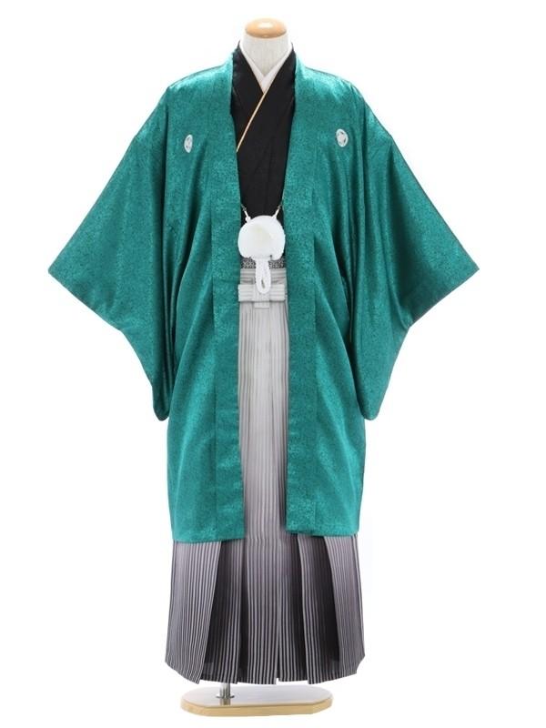 紋付袴336/グリーン/白シルバー裾縞ぼかし
