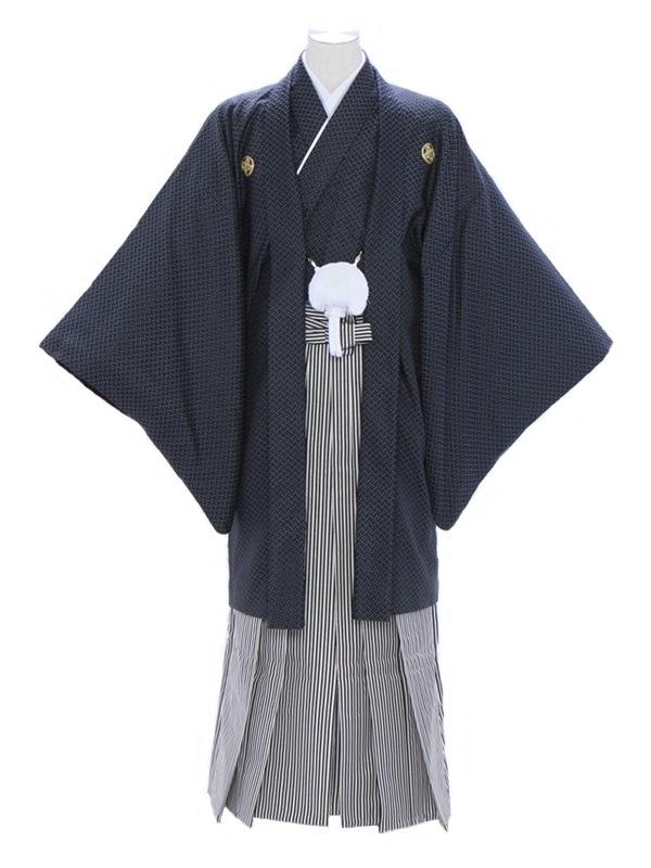 紋付袴243/紺/白黒シルバーストライプ