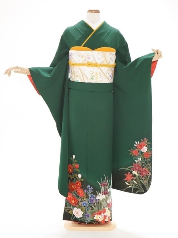 振袖348/緑/かわいい/成人式等