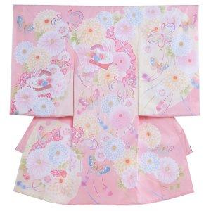 お宮参り女の子1004a 淡ピンク にぽんぽん菊