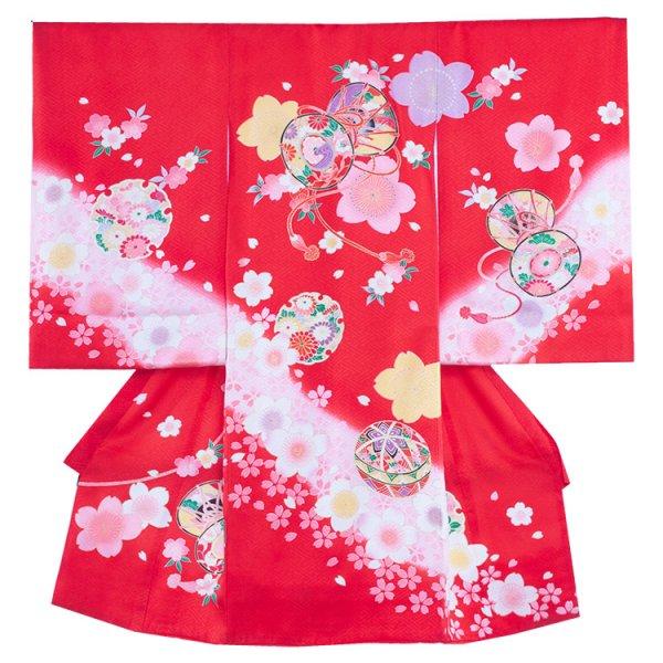 お宮参り女児142a 赤地/桜とつつみ