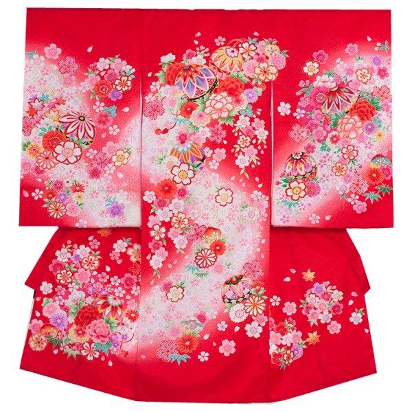お宮参り女児169a 赤地/毬とピンクの花車