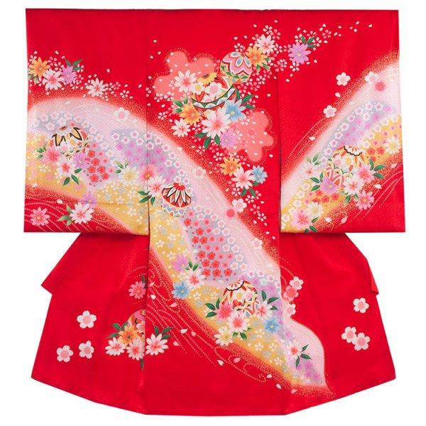 お宮参り女児141a 赤地/鞠と花盛り