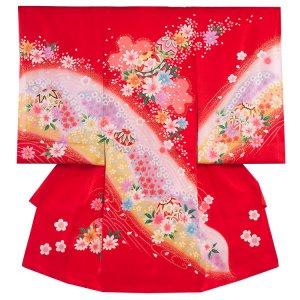 【正絹】お宮参り女の子141a 赤 /鞠と花盛り