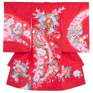 お宮参り女の子163a 赤 /牡丹の花車に桜