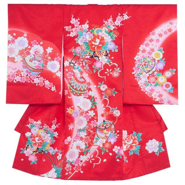 お宮参り女児163a 赤地/牡丹の花車に桜