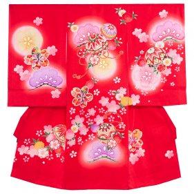 お宮参り女児172a 赤地/毬と花松