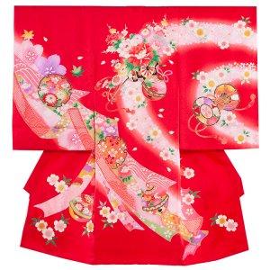 【正絹】お宮参り女の子170a 赤 /鈴と牡丹の花車