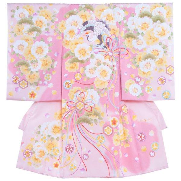 お宮参り女児1003a 淡桃地/橙花と鶴