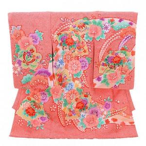 女児産着(お宮参り)D022 赤地 かのこ 扇にまり花