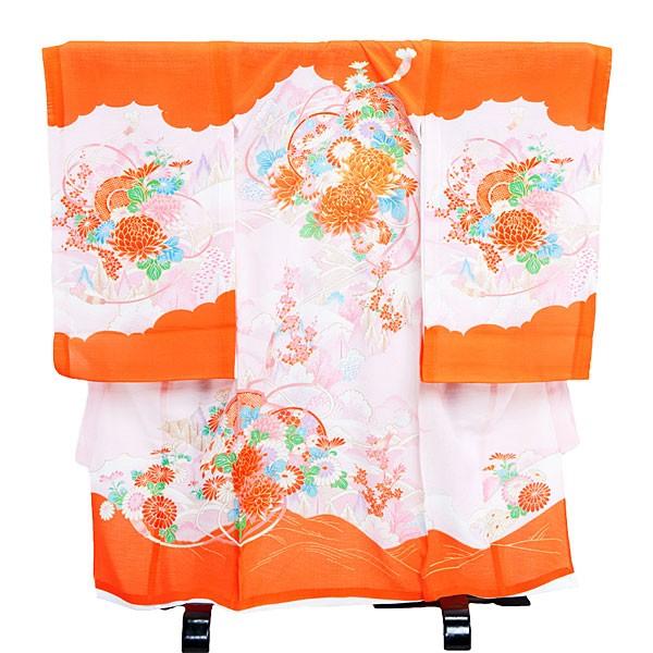 女児産着(夏用・絽)15-5オレンジ花柄
