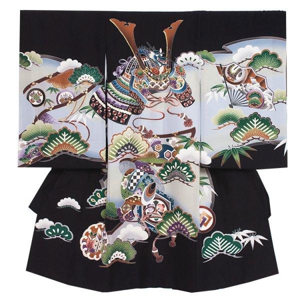 お宮参り男児290 黒地/青松と兜