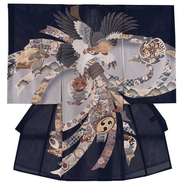 お宮参り男児75(正絹)紺地/鷹と束熨斗
