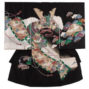 【正絹】お宮参り男の子111 黒 ×兜と松
