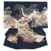男児産着124 紺×鷹と鶴