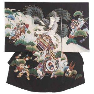 【正絹】お宮参り男の子125 黒×鷹と御所車