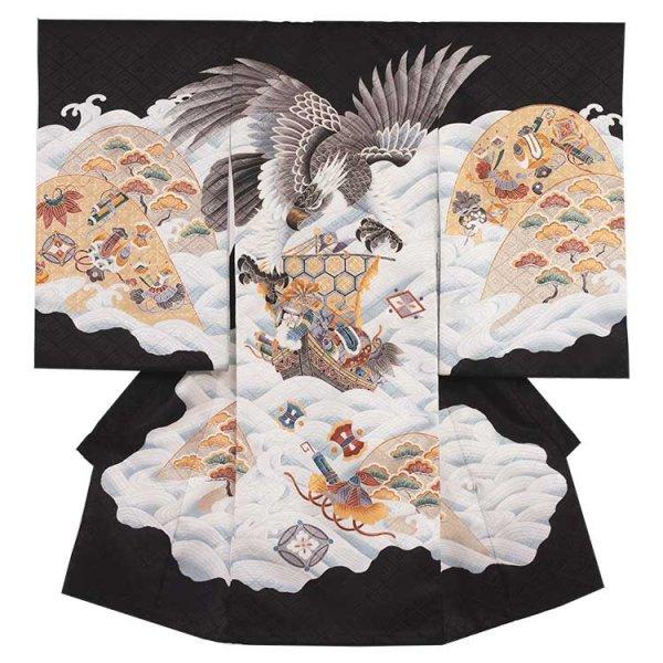 お宮参り男児113 黒地/鷹と宝船