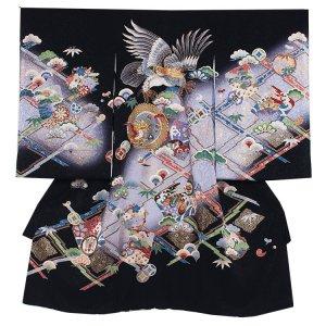 【正絹】お宮参り男の子224 黒 /金糸鷹/金糸ドラゴン