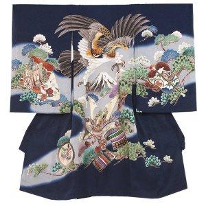 【正絹】お宮参り男の子109 紺 /富士に刺繍鷹