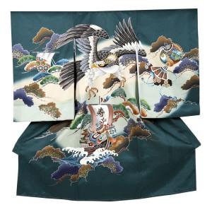 【正絹】お宮参り男の子230 金頭刺繍鷹/宝船と波