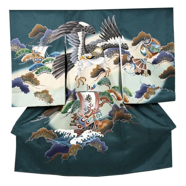 お宮参り男児230 金頭刺繍鷹/宝船と波
