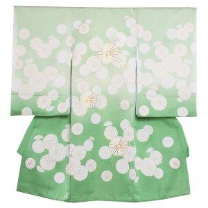【正絹】お宮参り男の子298 黄緑 /十六菊模様