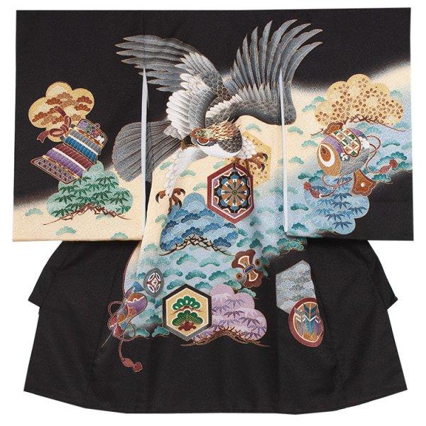 お宮参り男児246 黒地/刺繍鷹と松