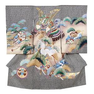 【正絹】お宮参り男の子223 総絞り風/兜と鶴