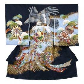 お宮参り男児272 黒地/鷹と束のし