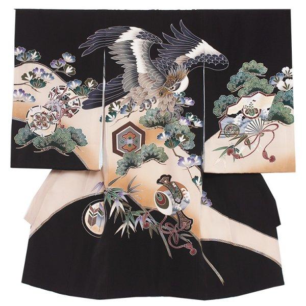 お宮参り男児297 黒地/金刺繍頭鷹と松竹