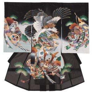 お宮参り男の子67(正絹)黒地/鷹と兜
