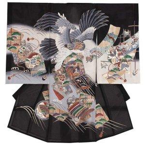 お宮参り男の子65(正絹)黒地/鷹と小槌