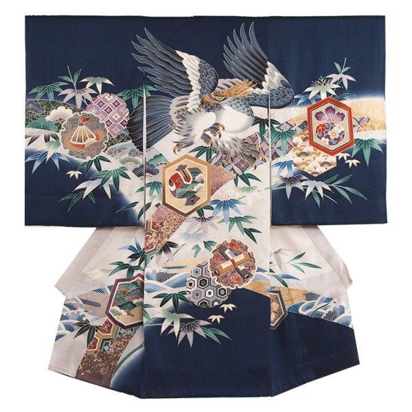お宮参り男児241 紺色/鷹と竹
