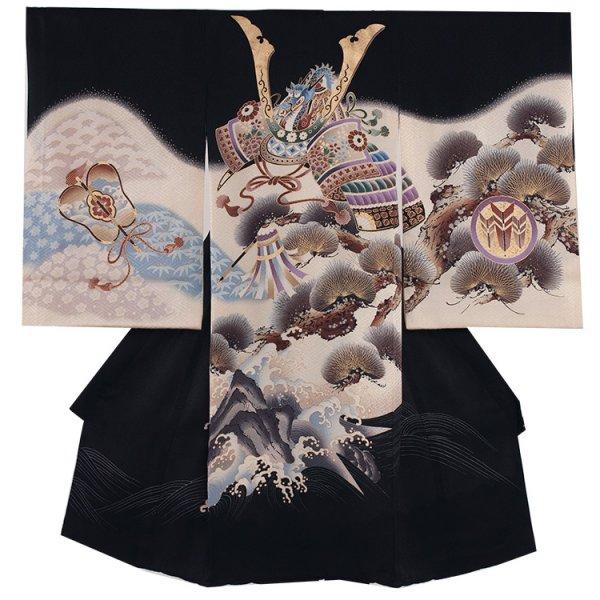 お宮参り男児204 黒地×ベージュ/兜と波