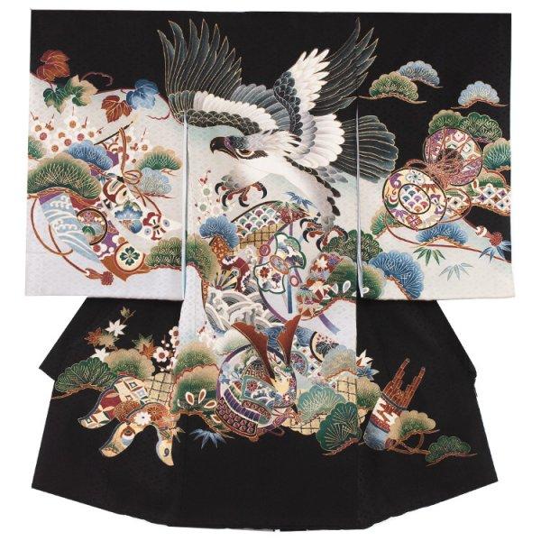 お宮参り男児203 黒地×水色/鷹と兜